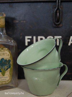 アンティークスタイルのホウロウデミカップポット2個セットグリーンガーデニング雑貨