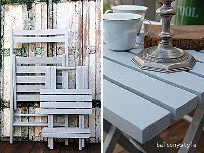 木製フォールディングチェアガーデンテーブルブルーグレイ