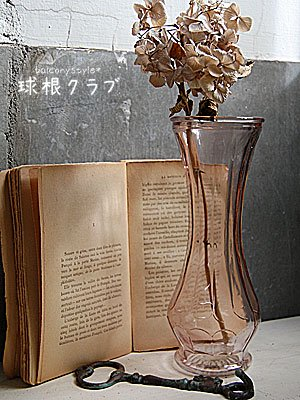 スリムな優しい淡いピンク色のガラスポットなどの水栽培やフラワーベースに