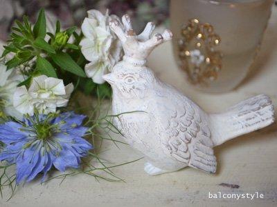 ベランダガーデンアクセントに王冠を頭に載せた白い小鳥クラウンホワイトバードオブジェ