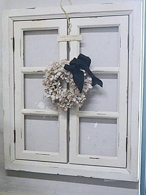 アンティークの窓のようなデコレーション用木製格子ウィンドオフ白ウィンドフレームダブルホワイト