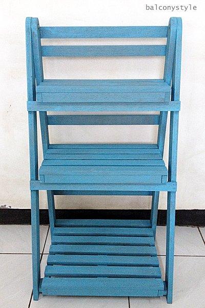 ウッドステップシェルフSサイズブルー木製シェルフ3段
