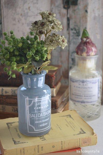 爽やかなブルーのボトルベース花器・小球根水栽培