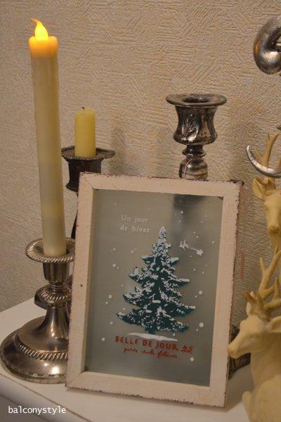 木製フレームのガラスに描かれたフランス語のクリスマスメッセージヴェールフレーム