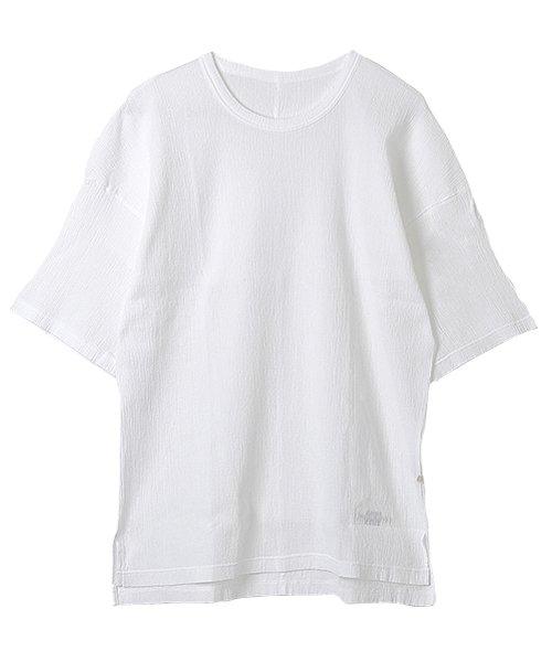 自然シボ メンズ Tシャツ ホワイト