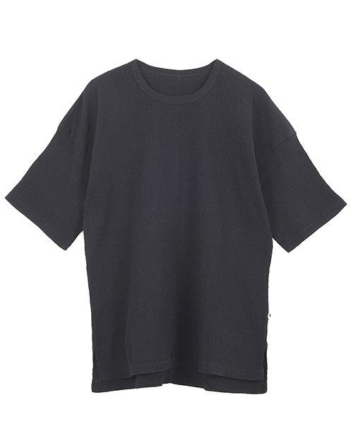 """自然シボ メンズ Tシャツ ブラック"""" class="""