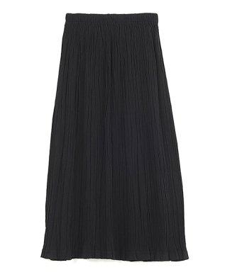 自然シボ プリーツスカート ブラック