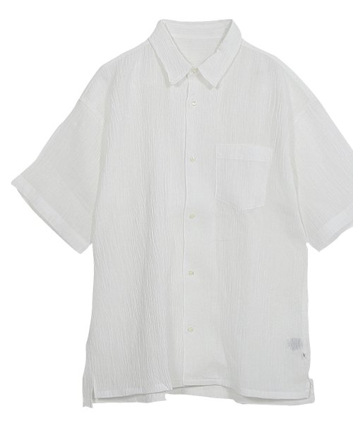 近江麻100% ちぢみ レギュラー カラー シャツ white