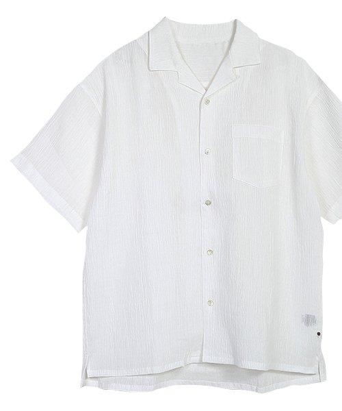 近江麻100% ちぢみ オープン カラー シャツ white