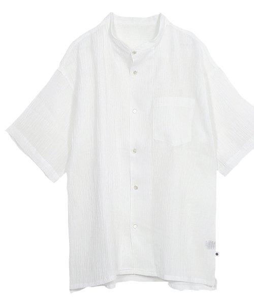 近江麻100% ちぢみ スタンド カラー シャツ white