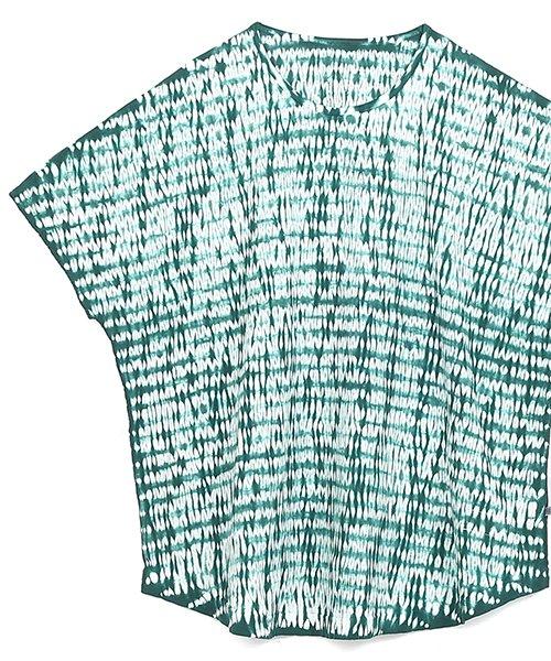 木目絞り フレアシャツ 木賊色