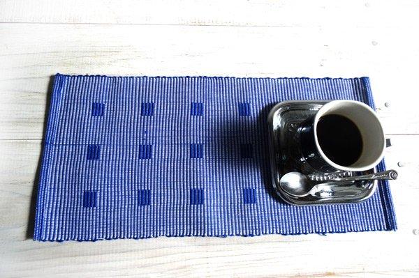 手織りコットンランチョンマット【Sat.Ranjee】北欧デザイン  【チャルコナ】 ブルー 36×16cm