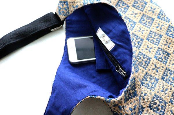 Body Bag  ボディバッグ Cross Diamond (ブルーカラー×コットンネイビー)