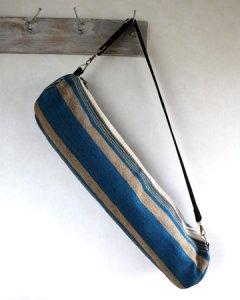 ヨガバッグ(ヨガマットケース)  手織ジュート麻生地 ボーダー ブルー系