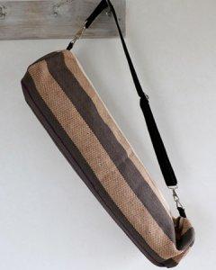 ヨガバッグ(ヨガマットケース)  手織ジュート麻生地  ボーダー パープル系