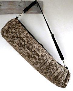 ヨガバッグ(ヨガマットケース)  手織ジュート麻生地  ダイヤ柄 ブラック