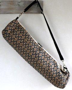 ヨガバッグ(ヨガマットケース)  手織ジュート麻生地  ダイヤ柄 A ブルー系