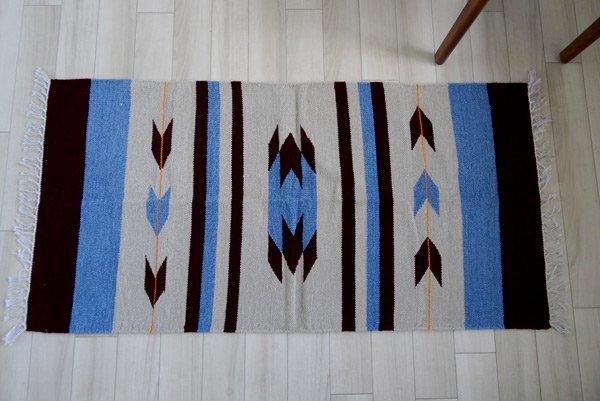手織りエスニックラグ【矢】  125×60