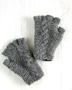 ウール手編み手袋 グローブ グレー