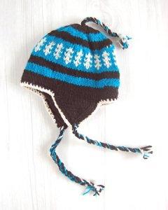手編みニットキャップ(ニット帽)  ブルーミックス