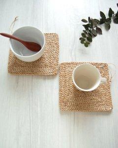 オーガニックの手編みジュート麻マット2枚セット