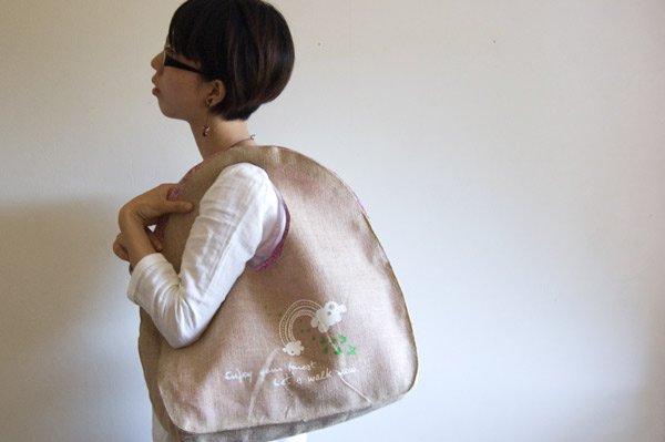ジュート麻デザイナーズトートバッグ(グリーン)内布ピンク・赤系