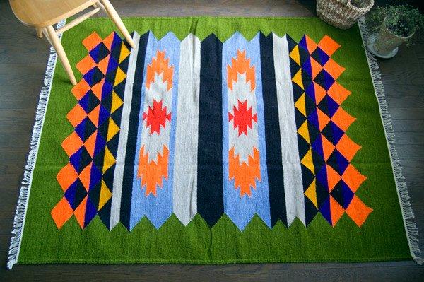 【ホットカーペット対応】手織りエスニックラグ180×145リーフグリーン