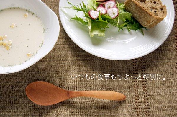 「やさしいテーブルセット」・木のスプーンと天然素材手織りマットのセット