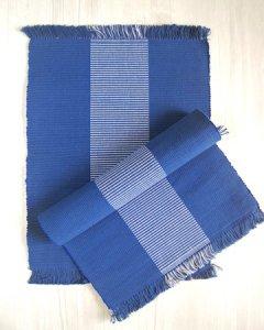 手織りコットンランチョンマット【Sat.Ranjee】 北欧デザイン ネイビーブルー