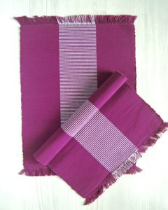 手織りコットンランチョンマット【Sat.Ranjee】北欧デザイン パープル