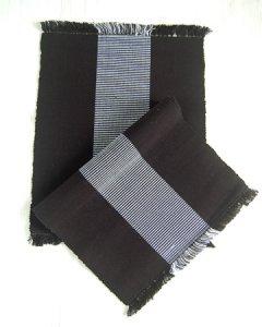 手織りコットンランチョンマット【Sat.Ranjee】北欧デザイン ブラック