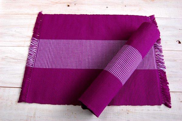 手織りコットンランチョンマット(プレイスマット) 2枚セットカラーあり