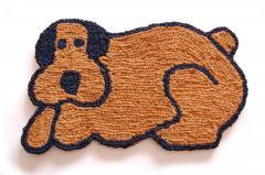 ココナッツコイヤー手編みマット(玄関マット) ドッグ Dog