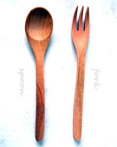 木のスプーンとフォークセット・木製カトラリー