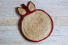 ジュート手編みポットマット(りんご)