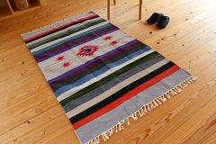 手織りエスニックラグ舟と太陽  150×90