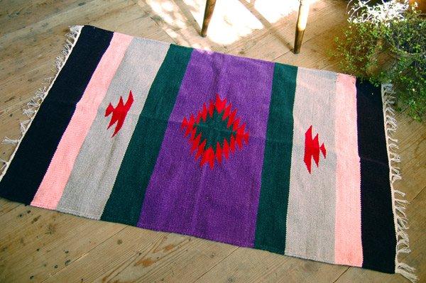 手織りエスニックラグ【太陽】120×70