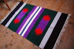 手織りエスニックラグ太陽 パープル系 122×72