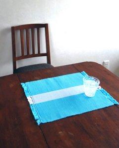 手織りコットンランチョンマット【Sat.Ranjee】 ライン アクアマリン
