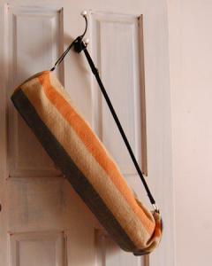 ヨガバッグ(ヨガマットケース)  手織ジュート麻生地 ボーダー オレンジ系