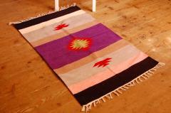 手織りエスニックラグ舟と太陽  125×73