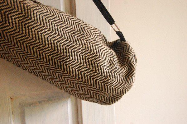 ヨガバッグ(ヨガマットケース)  手織ジュート麻生地  ヘリンボーン ブラック
