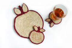 手編みジュートポットマット&コースター2枚セット(赤)