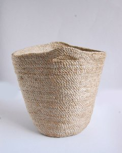 ナチュラルジュート手編みバスケット