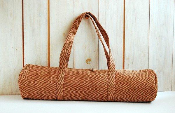 ヨガバッグ(ヨガマットケース)  手織ジュート麻生地  ヘリンボーン ブラウン 2handle