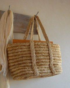 【セール】ジュート手編みかごバッグ ボーダー (手さげタイプ)