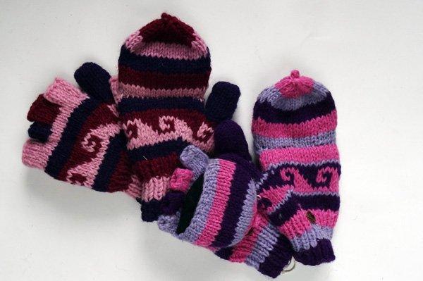 ウール手編み手袋 グローブ 2WAY  ピンク・パープル系