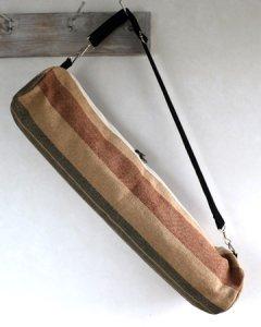 ヨガバッグ(ヨガマットケース)  手織ジュート麻生地  ボーダー モカ系