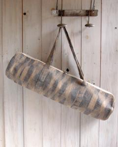 ヨガバッグ(ヨガマットケース)  手織ジュート麻生地  ikat柄 ブルー  2handle