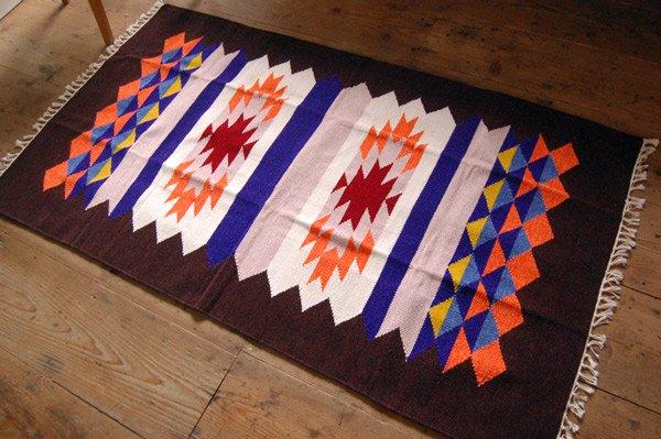 【ホットカーペット対応】手織りエスニックラグ太陽と波150×90ネイビー
